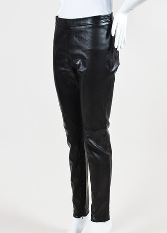 Andrew Gn Black Leather Legging Pants Sideview