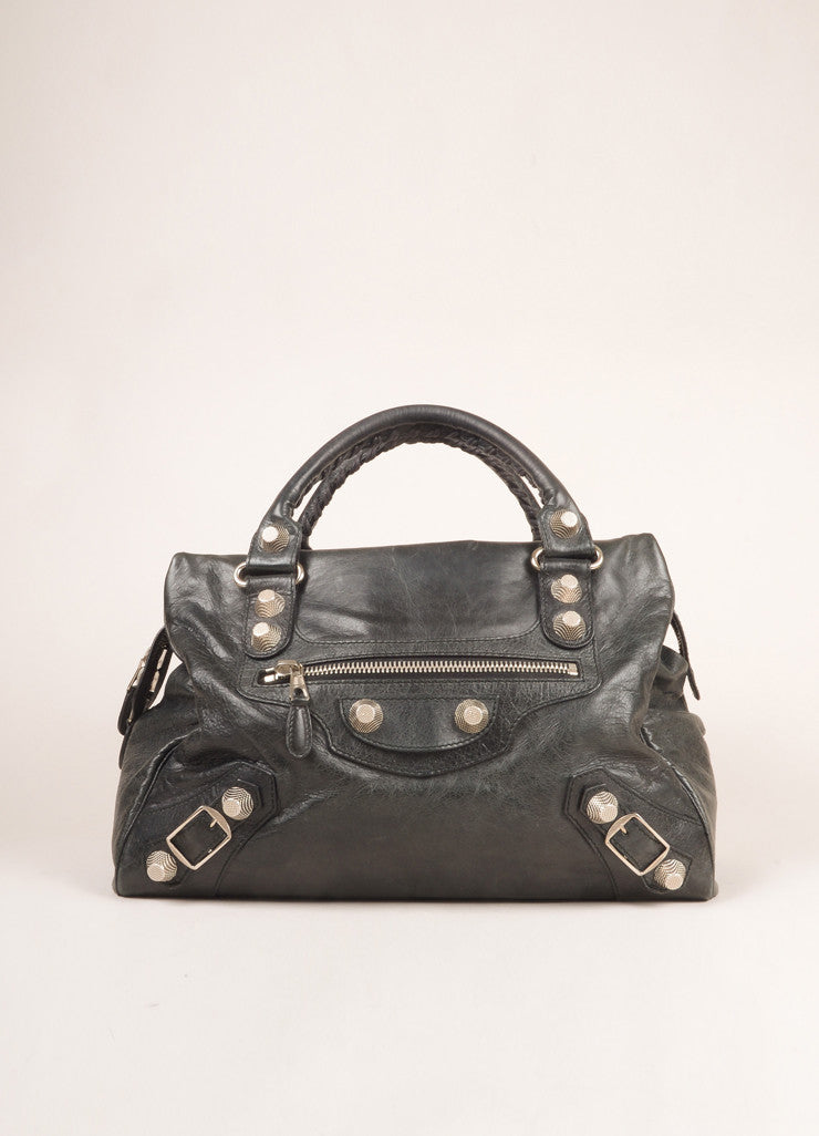 "Balencaiga Black Crinkle Leather Studded ""Arena Work"" Bag Frontview"
