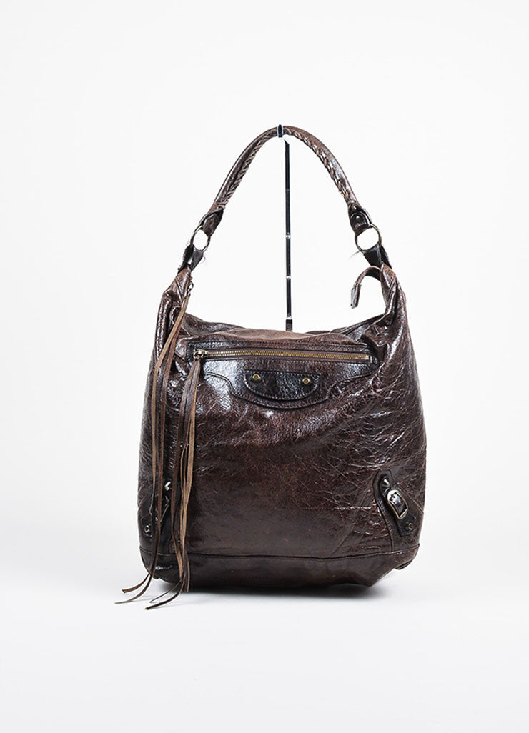 "Balenciaga Dark Brown Leather ""Classic Day"" Bag Frontview"