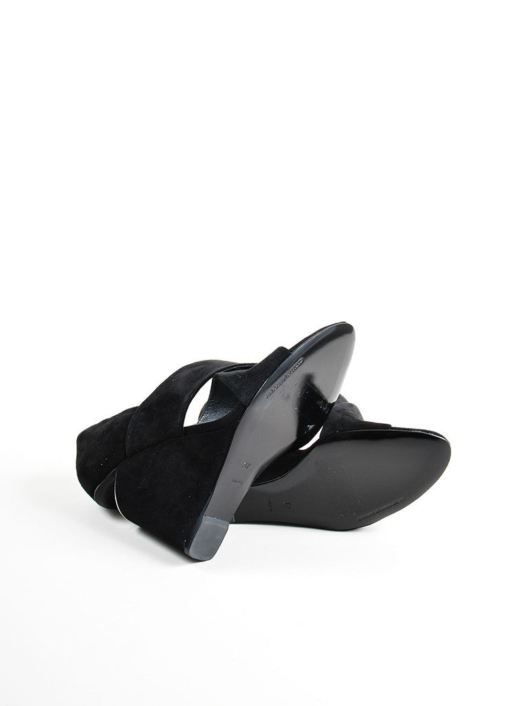 "Alexander Wang Black Suede Metal Plate Cut Out ""Ida"" Wedge Sandals Outsoles"
