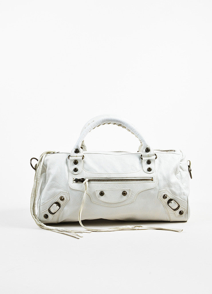 "Balenciaga White Leather Classic Stud ""Twiggy"" Satchel Bag Frontview"