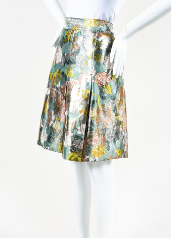 Bottega Veneta Green, White, and Silver Metallic Floral Print A-Line Skirt Sideview