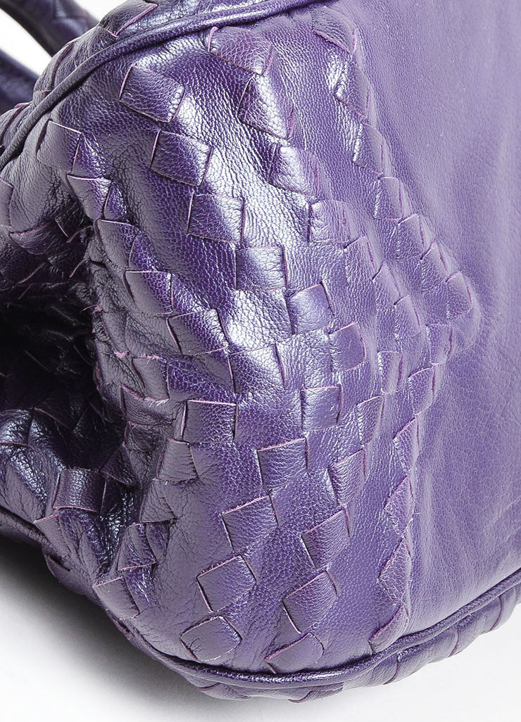 Purple Bottega Veneta Intrecciato Woven Leather Satchel Handbag Detail
