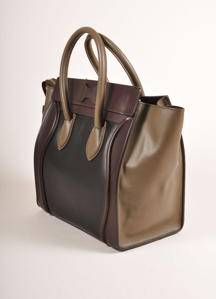 "Celine $3100 Brown Black Taupe Gray Tri Color Leather Mini ""Luggage"" Tote Bag Side View"
