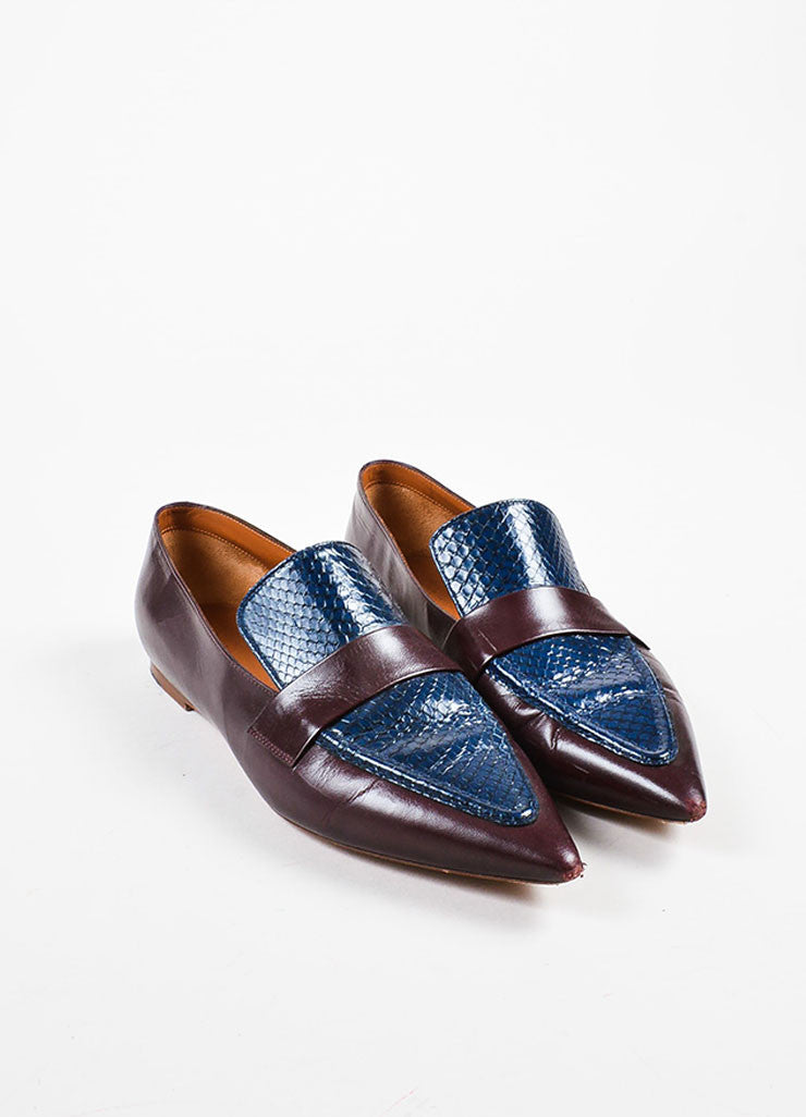 Celine Burgundy Red and Navy Blue Leather and Snakeskin Pointed Flat Loafers Frontview