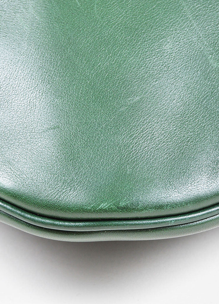 Green Leather Celine Zip Flat Shoulder Bag Detail