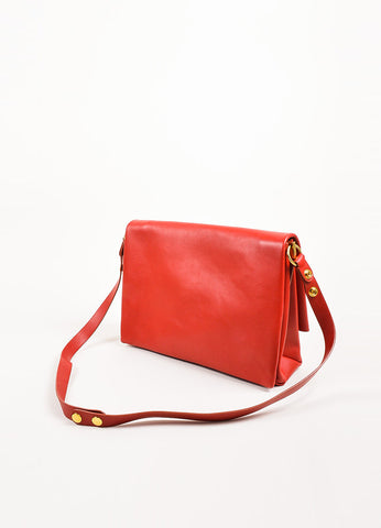 "Celine Red Leather Gold Toned Flap ""Blade"" Shoulder Bag Backview"