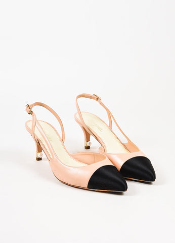Chanel Nude and Black Leather Satin Cap Toe Pearl Accent Slingback Pumps Frontview