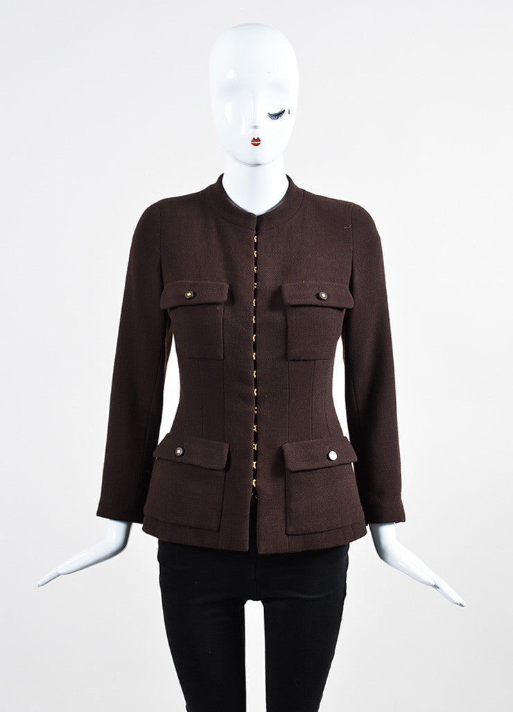 Brown Chanel Wool Crepe Utilitarian Jacket  Frontview 2
