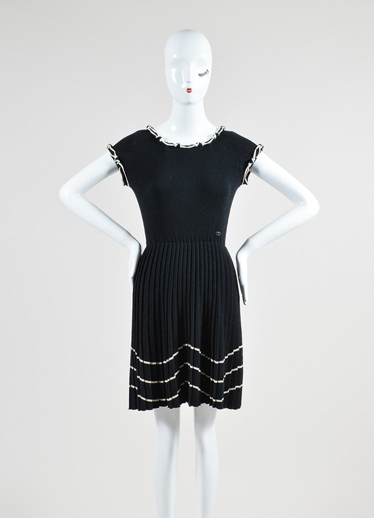 Black and Cream Chanel Wool Pleat Satin Trim Cap Sleeve Flare Dress Frontview