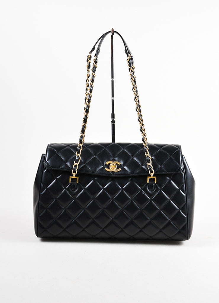"Chanel Black Lambskin Leather Quilted ""CC"" Flap Large Shopper Tote Bag Frontview"
