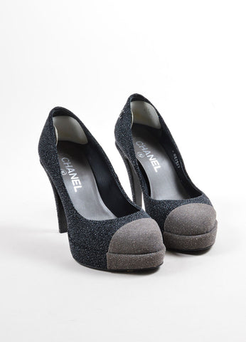 Chanel Black and Gray Round Toe Platform Pump Front