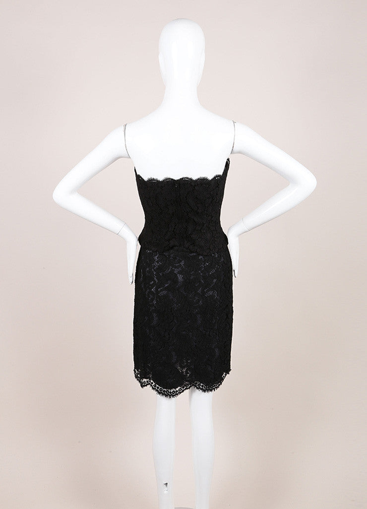 Chanel Black Lace Strapless Corset Top and Pencil Skirt Set Backview