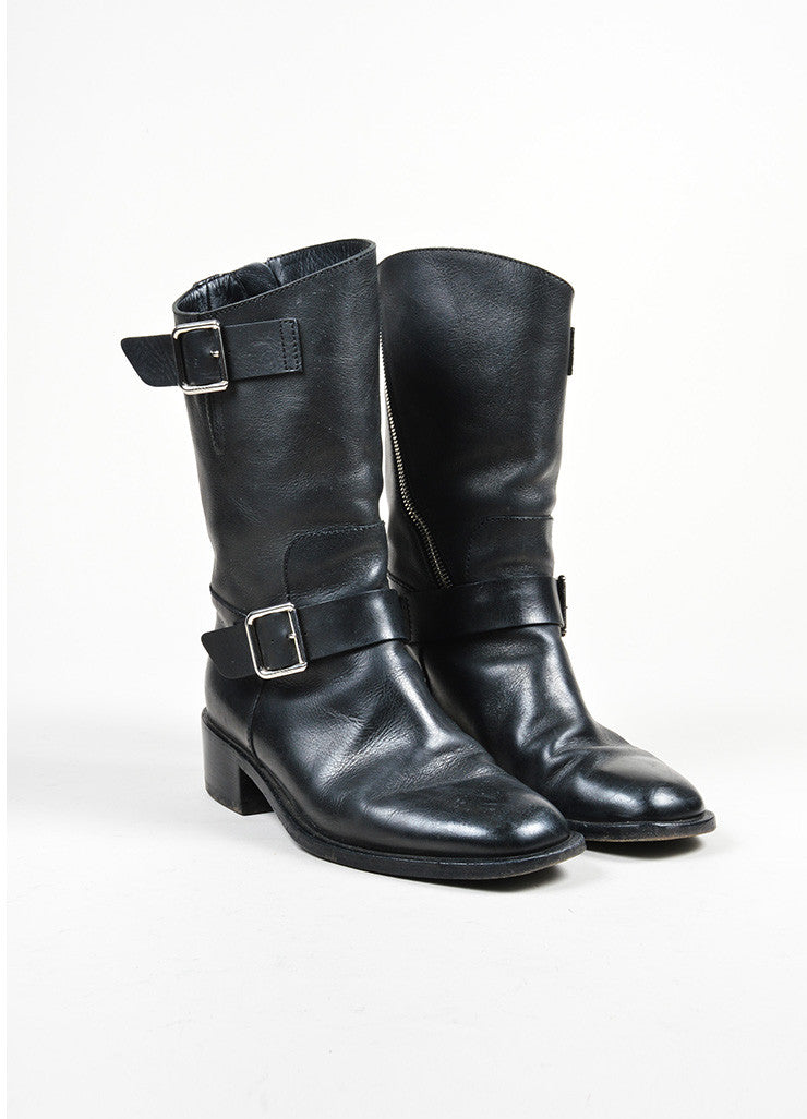 Black Leather and Silver Chanel 'CC' Harness Biker Boots Frontview
