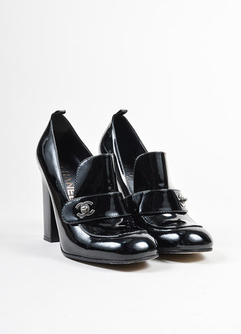 Black Chanel Patent Leather Block Heel Loafers Frontview