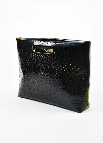 Black Chanel Perforated Patent Leather CC Logo Clutch Side