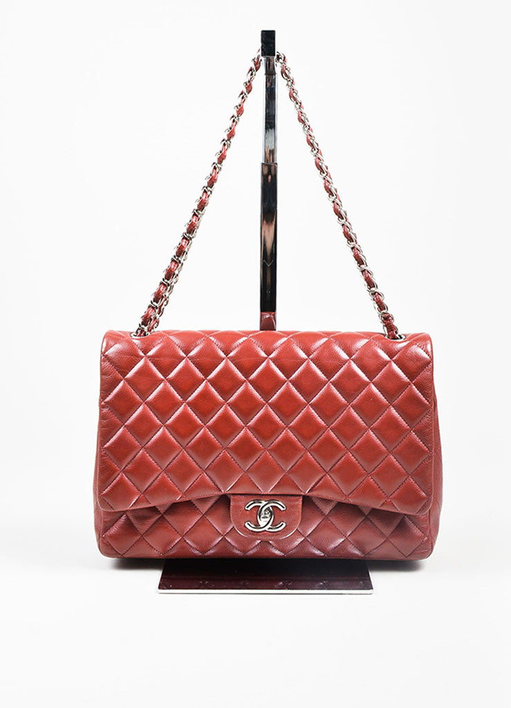 Dark Red Chanel SHW Quilted Soft Caviar Leather Classic Maxi Double Flap Bag Frontview