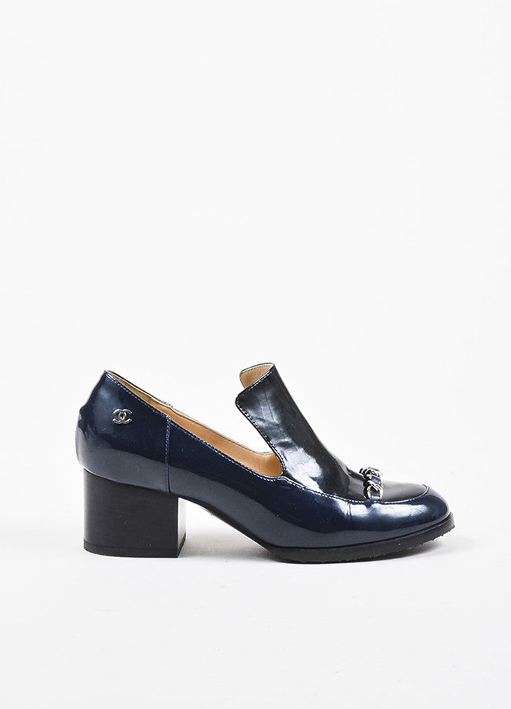 Chanel Navy Blue Patent Leather Silver Toned Chain Block Heel 'CC' Loafers Sideview