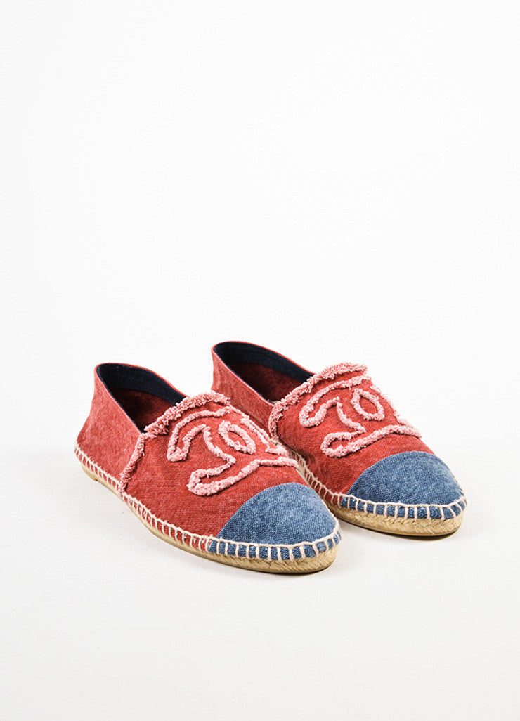 Chanel Navy and Red Canvas 'CC' Fray Cap Toe Espadrille Flats Frontview