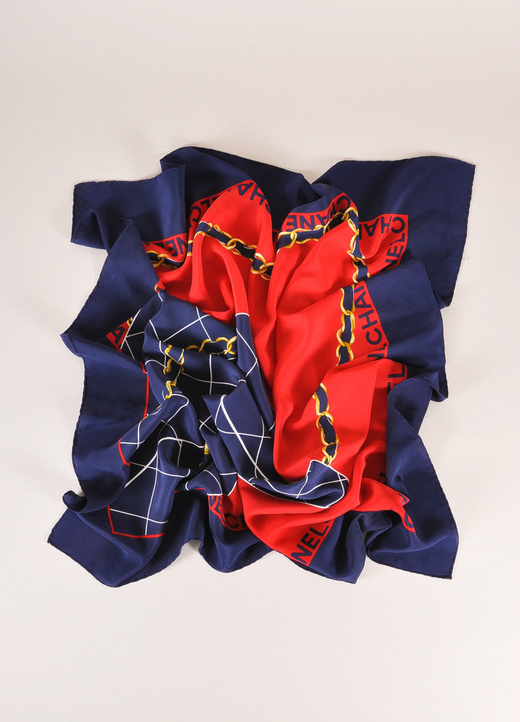 Chanel Navy, Red, and Gold Quilted Flap Bag Printed Silk Scarf Frontview