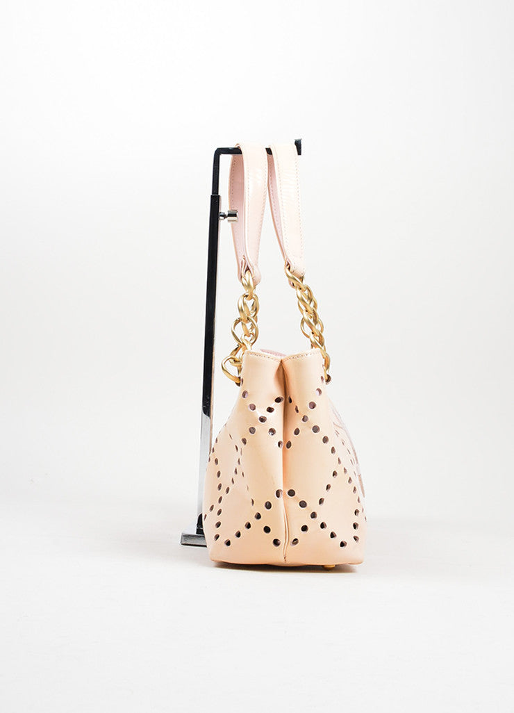 Nude Blush Chanel Patent Leather Perforated 'CC' Chain Tote Bag Sideview