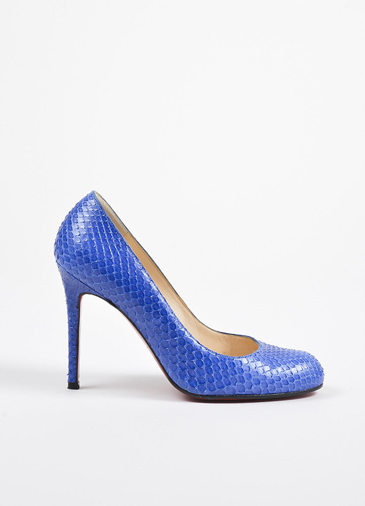 "Christian Louboutin Blue Python Round Toe ""Simple"" Pumps Sideview"