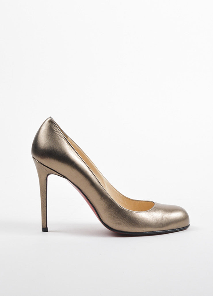 "Christian Louboutin Bronze Metallic Leather Round Toe ""Simple 100"" Heels Sideview"