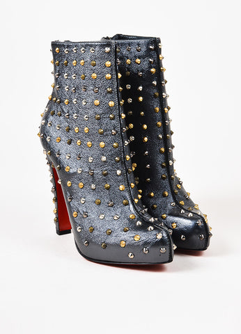 "Christian Louboutin Gunmetal Leather Studded ""Ariella"" Booties Frontview"