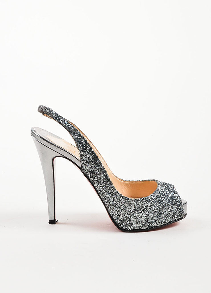 "Christian Louboutin Silver ""No. Prive Glitter Slingback"" Peep Toe Pumps Sideview"