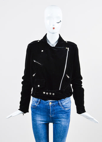 Christopher Kane Black Velvet Long Sleeve Moto Jacket Frontview