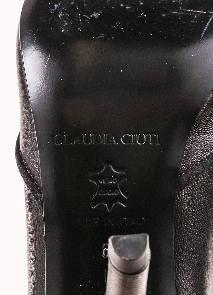 Claudia Ciuti Black Leather Buttoned Flap Knee High Heeled Boots Brand