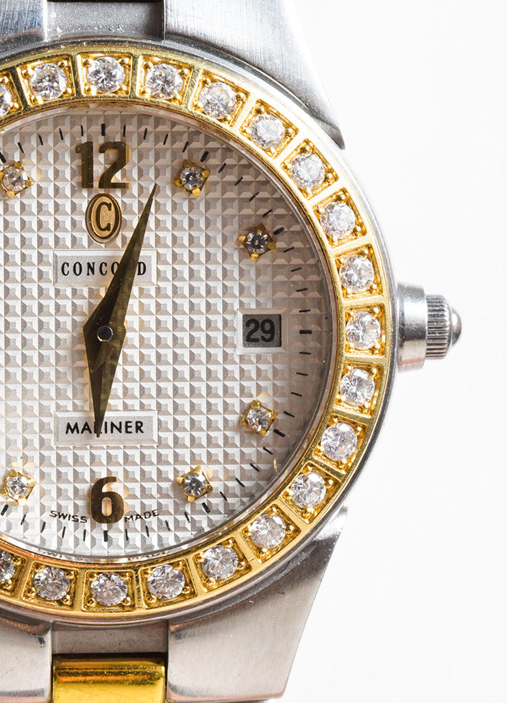 "Concord Stainless Steel 18K Gold Diamond ""Mariner"" Two Tone Bracelet Watch Detail"