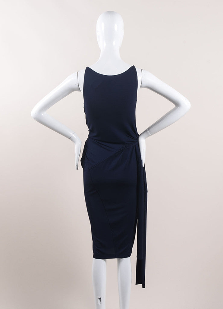 Donna Karan Navy Blue Jersey Knit Belted Sleeveless Slip Dress Backview
