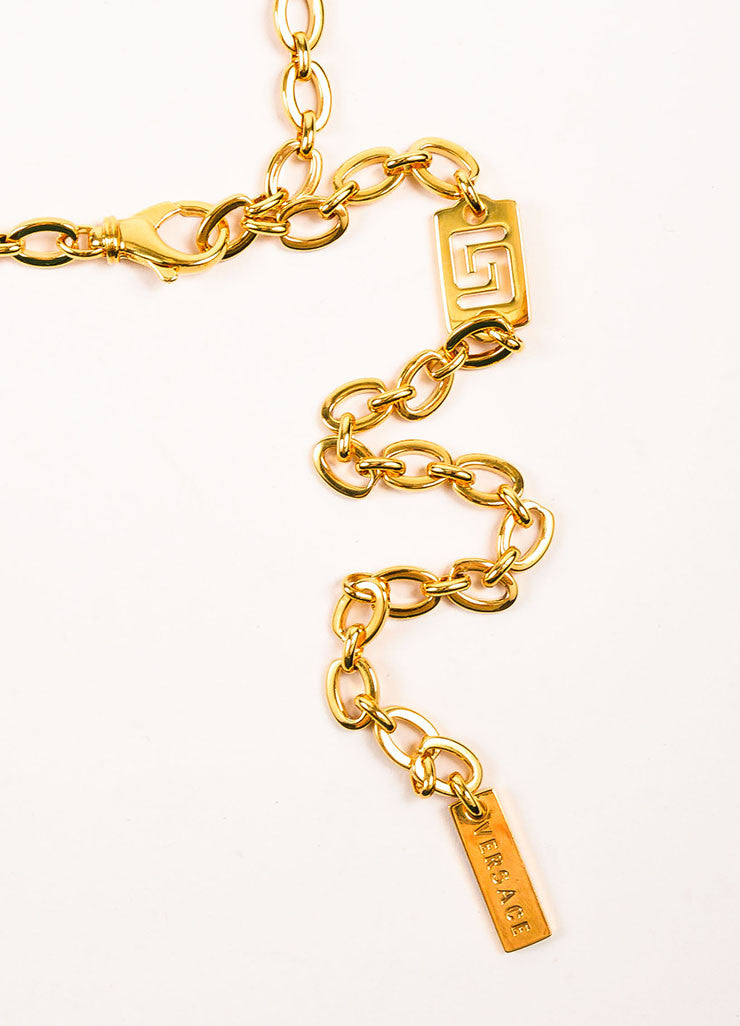 "Gianni Versace ""Vanitas"" Gold Toned Medusa Head and Greek Key Chain Belt Detail 2"