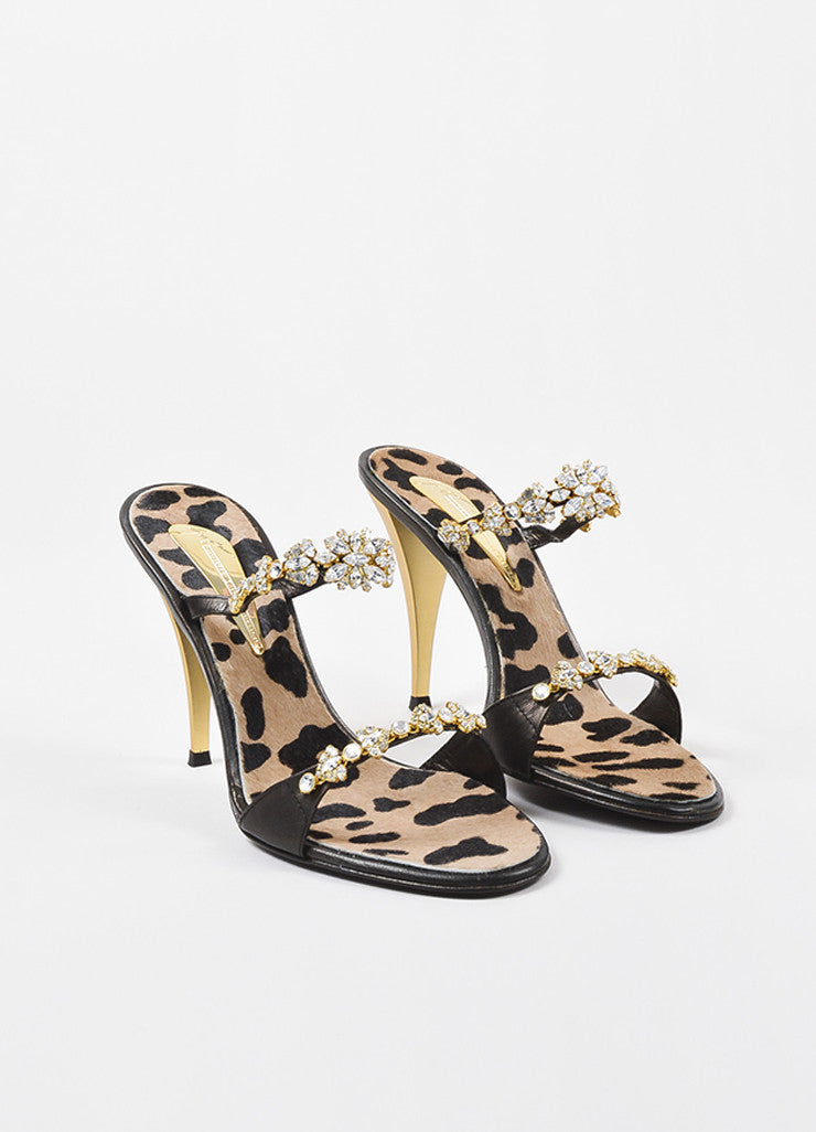 Giuseppe Zanotti Black Leather Crystal Embellished High Heel Sandals Frontview