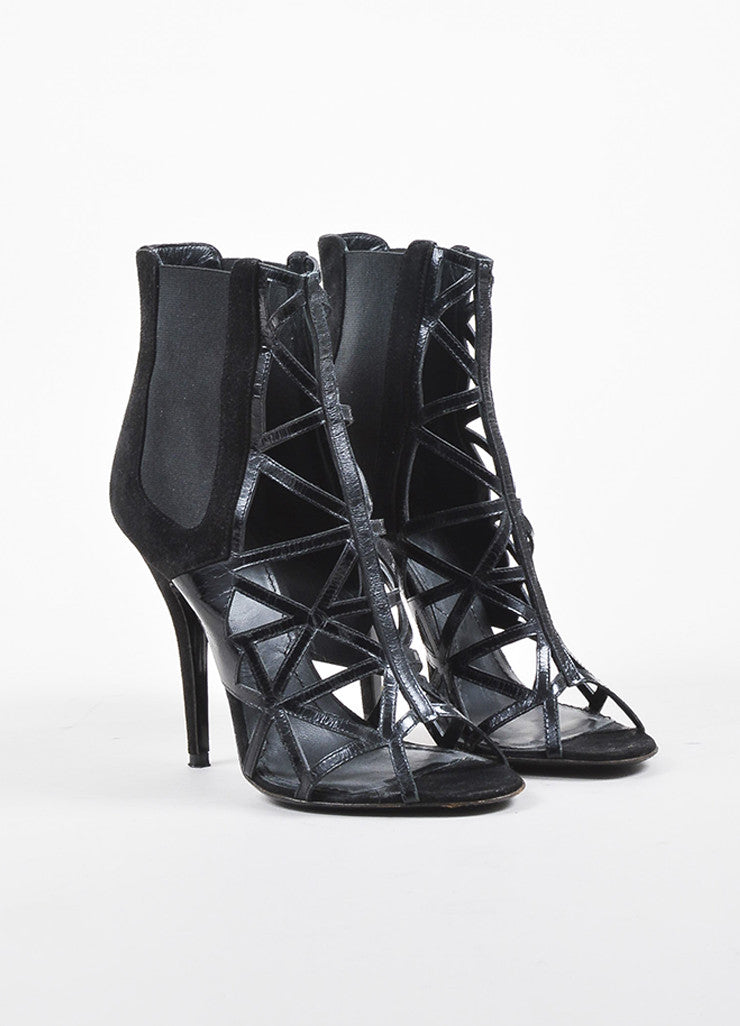 Givenchy Black Suede and Leather Elastic Panel Open Toe Caged Ankle Booties Frontview