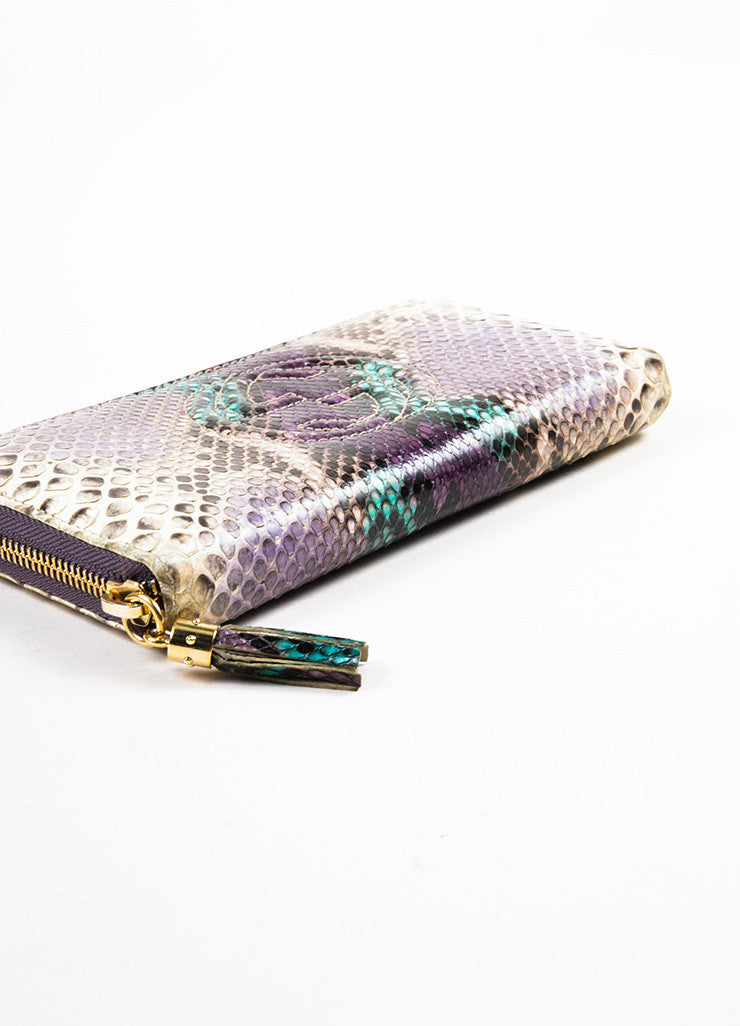 "Gucci Cream, Purple, and Green Python Snakeskin Zip Around 'GG' ""Soho"" Wallet Bottom View"