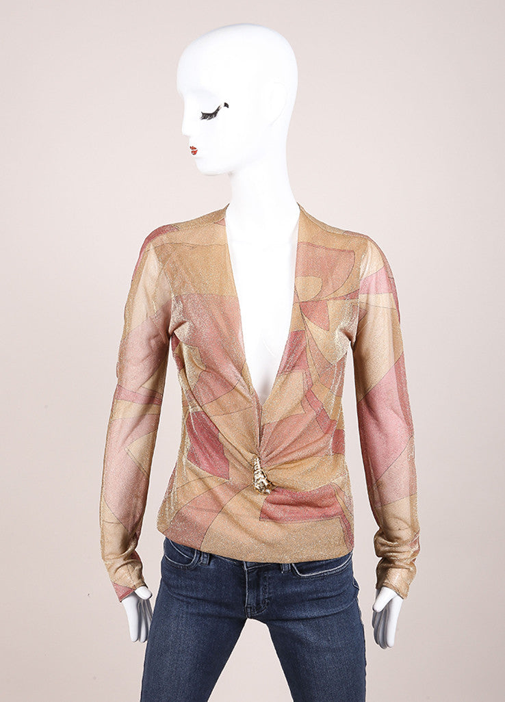 Gucci Tan, Pink, and Gold Metallic Graphic Print Tiger Embellished Blouse Frontview