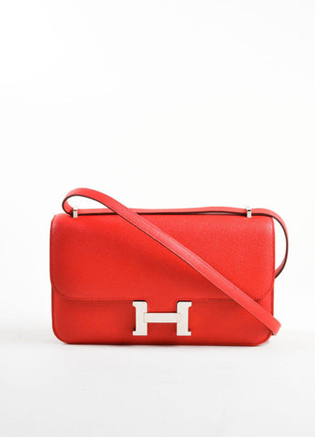 "Hermes Red Leather 25cm ""Constance Elan"" Cross Body Bag Frontview"