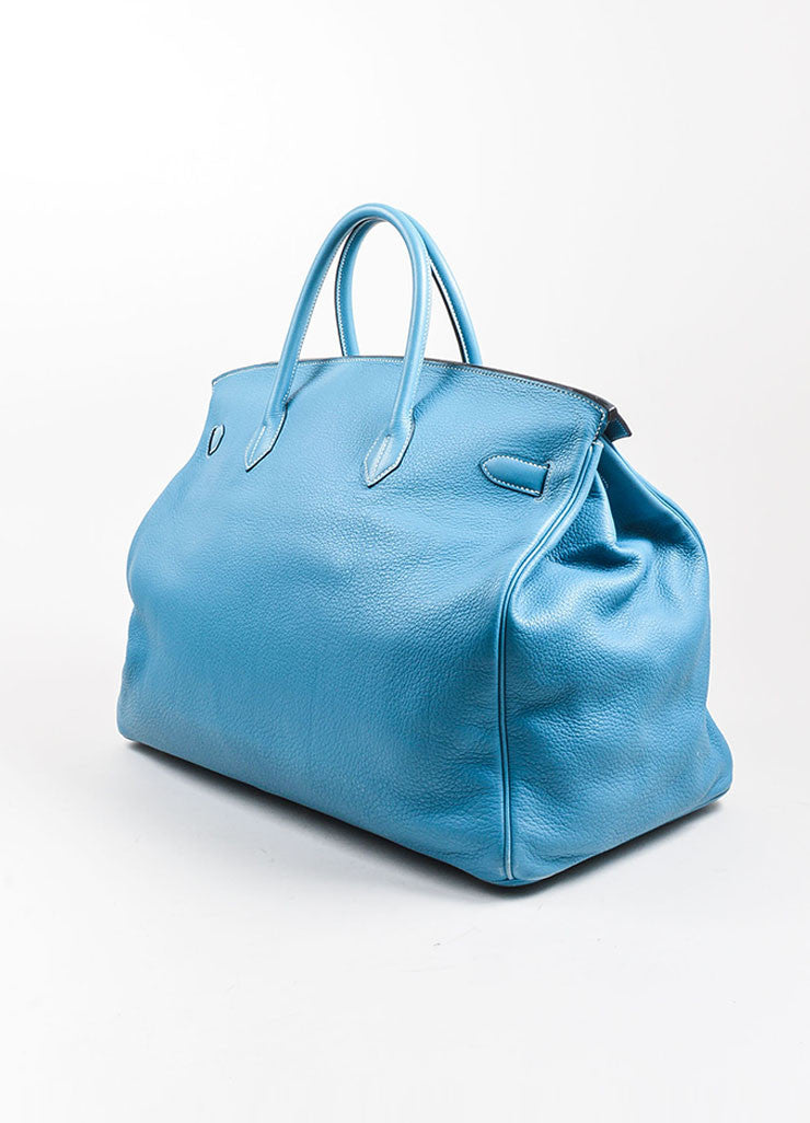 "Blue ""Saint Cyr"" Hermes SHW Leather 50cm ""Birkin"" Bag Side"