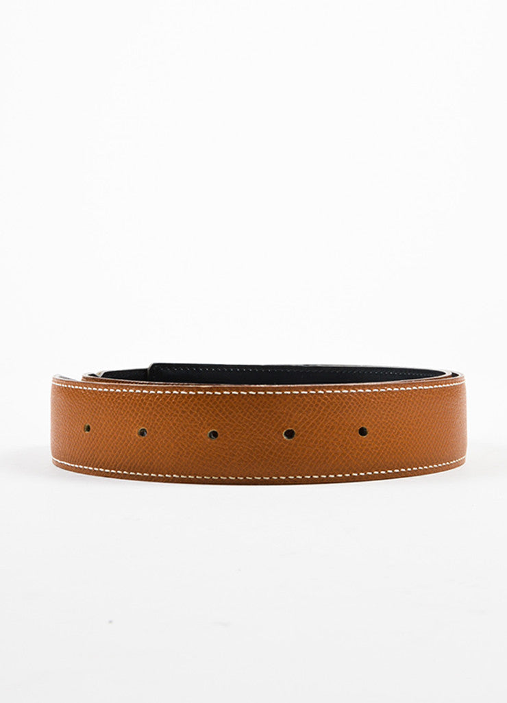 Hermes Tan and Black Leather Reversible No Buckle Belt Frontview