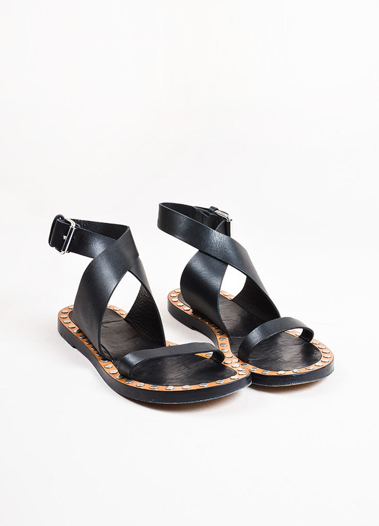 "Isabel Marant Black Leather Studded ""Janis"" Open Toe Sandals  Frontview"