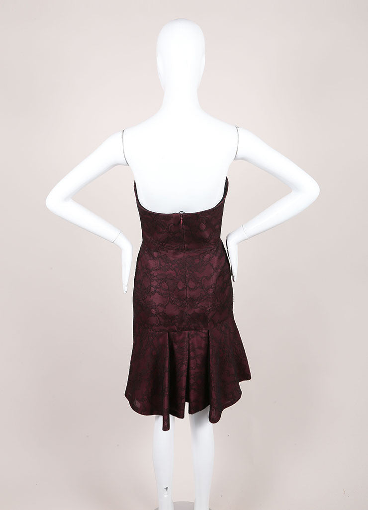 J. Mendel New With Tags Burgundy And Black Silk Metallic Lace Strapless Dress Backview