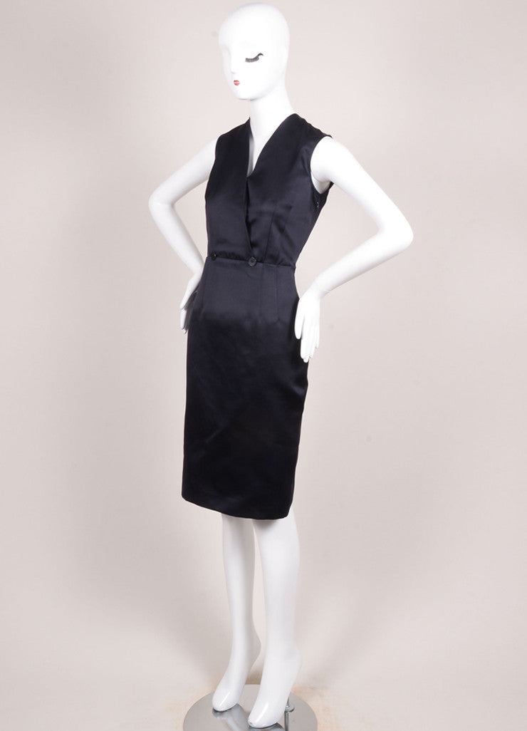 Jil Sander Navy Silk Satin Sleeveless V-Neck Sheath Dress Sideview