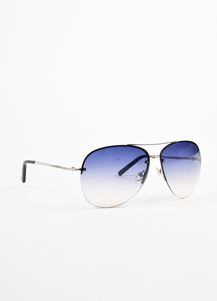 "Jimmy Choo Blue and Silver Toned Gradient Lens Rhinestone ""Fran"" Aviator Sunglasses Sideview"