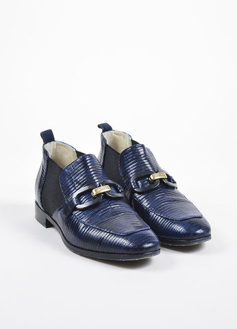 "Jimmy Choo Navy Blue and Black Lizard Embossed ""Metric"" Buckle Loafers Frontview"
