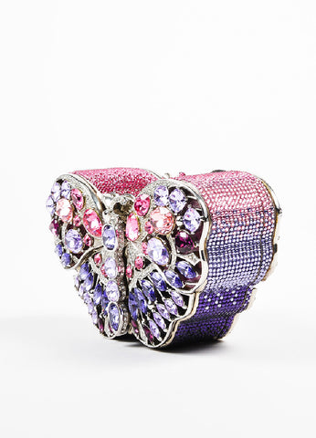 "Judith Leiber Pink Crystal Jeweled Butterfly LE ""Celestrina"" Clutch Bag Sideview"