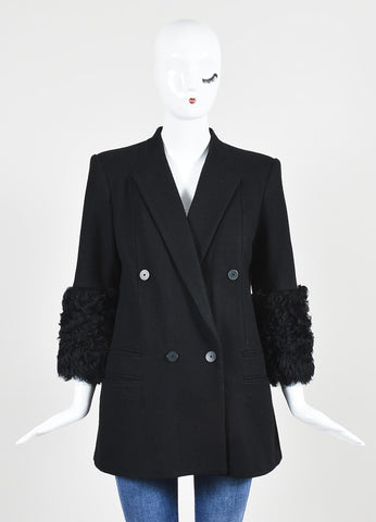 Black Karl Lagerfeld Wool Fur Trim Double Breasted Blazer Coat Frontview 2