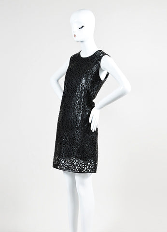 "Karl Lagerfeld Black Faux Leather Laser Cut Out Sleeveless ""Resi Kool"" Dress  Sideview"