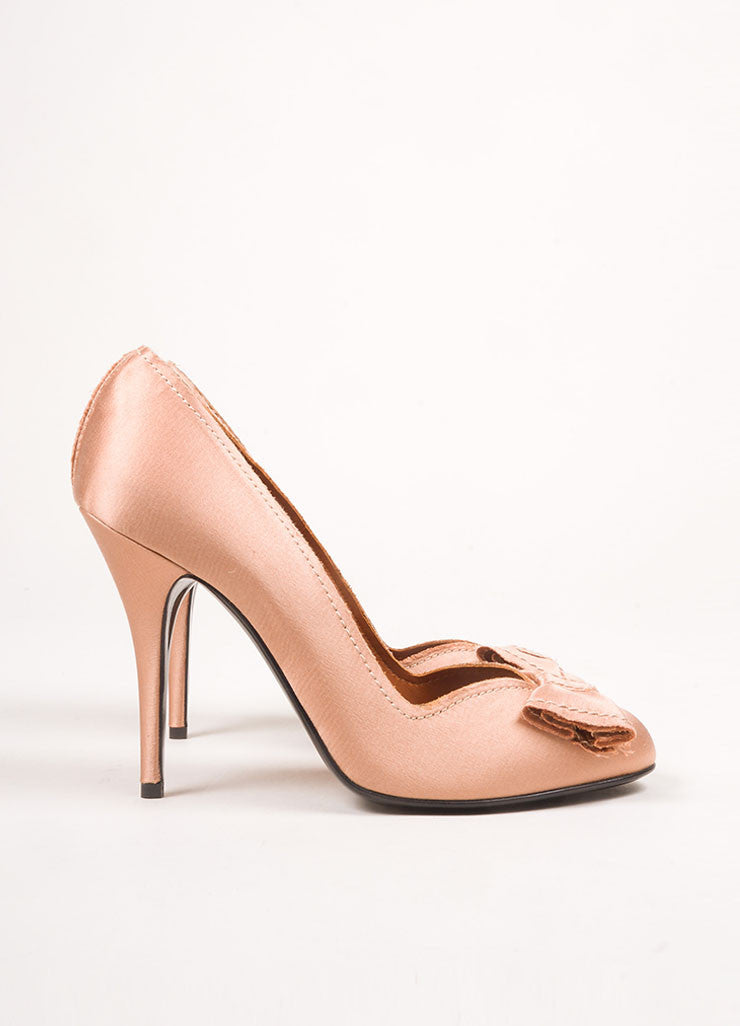Lanvin Dusty Pink Satin Bow Pumps Sideview